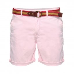 Short chino Scotch & Soda en coton stretch rose pâle à ceinture en toile