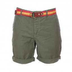 Short chino Scotch & Soda en coton stretch vert kaki à ceinture en toile