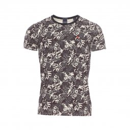 Tee-shirt col rond Scotch and Soda en coton stretch marron à motifs fleuris beiges