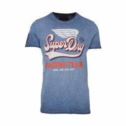 2c32857c172 Tee-Shirt col rond Superdry High Flyers Slub en coton bleu délavé floqué ...