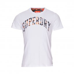 Tee shirt col rond Superdry Camo Embossed en coton blanc floqué camouflage
