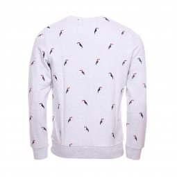 Sweat col rond Superdry Aoe en coton gris clair chiné brodé de toucans