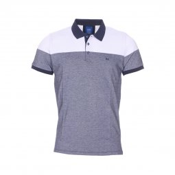 b632ef443b6a09 Polo TBS Grafi en coton stretch piqué bleu chiné et blanc ...