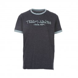 Tee-shirt col rond Teddy Smith Junior Ticlass en coton bleu pétrole chiné floqué en bleu ciel
