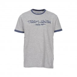 Tee-shirt col rond Teddy Smith Junior Ticlass en coton gris chiné floqué en bleu pétrole