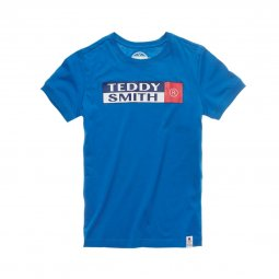 Tee-shirt col rond Teddy Smith Junior Tozo en coton bleu roi floqué