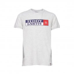 Tee-shirt col rond Teddy Smith Junior Tozo en coton gris clair flammé floqué