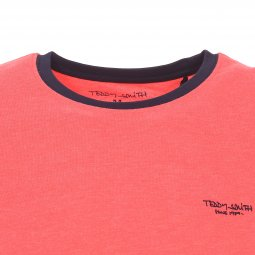 Tee-shirt col rond Teddy Smith The Tee en coton mélangé corail floqué