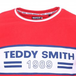 Tee-shirt col rond Teddy Smith T-Borneo en coton rouge