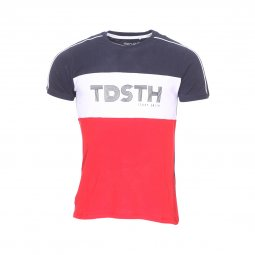 Tee-shirt col rond Teddy Smith Thou en coton bleu, blanc et rouge