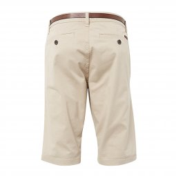 Short Tom Tailor Essential Chino en coton stretch beige à ceinture marron