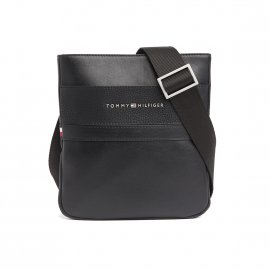 Sacoche plate zippée Tommy Hilfiger TH Business Mini Crossover noire