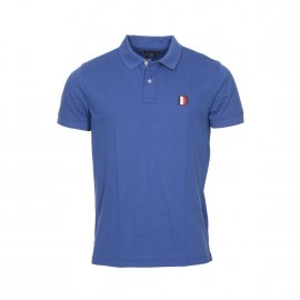 Polo Tommy Hilfiger Icon Mini Badge en piqué de coton bleu pétrole brodé