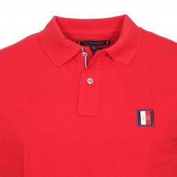 Polo Tommy Hilfiger Icon Mini Badge en piqué de coton rouge brodé