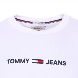 Tee-shirt col rond Tommy Jeans Small Text en coton blanc floqué
