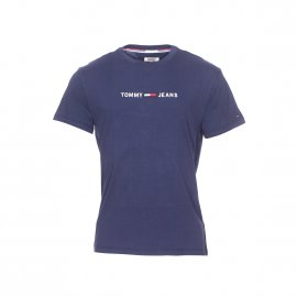 Tee-shirt col rond Tommy Jeans Small Text en coton bleu marine floqué