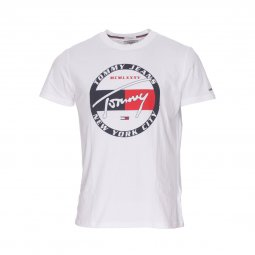 Tee-shirt col rond Tommy Jeans Circle Graphic en coton blanc floqué