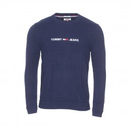 Pull col rond Tommy Jeans Small Logo en coton bleu marine