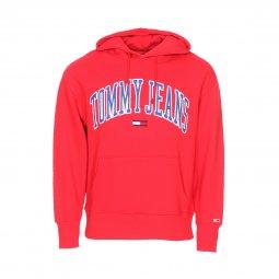 c9048ca975d Sweat à capuche Tommy Jeans Clean Collegiate en coton rouge floqué ...