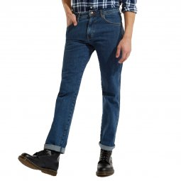 Jean droit Wrangler Arizona en coton stretch bleu