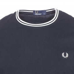 Tee-shirt col rond Fred Perry Twin Tipped en coton bleu marine