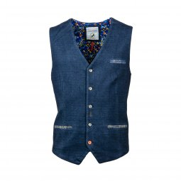 Gilet sans manches A Fish Named Fred en coton bleu denim