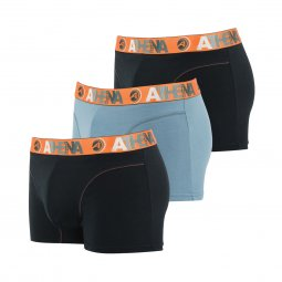 Lot de 3 boxers Athena en coton stretch noir et gris à ceinture orange