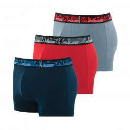 Lot de 3 boxers Athena Pulse en coton stretch bleu marine, rouge et gris