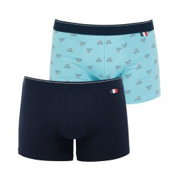 Lot de 2 boxers Eminence Made in France en coton stretch bleu marine et bleu ciel à motif cycliste