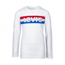 Tee-shirt manches longues col rond Levi's Junior Striped en coton blanc floqué