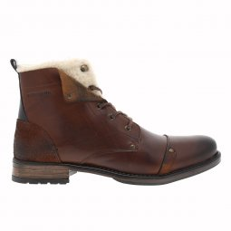Bottines Redskins Youdine en cuir véritable marron à doublure sherpa