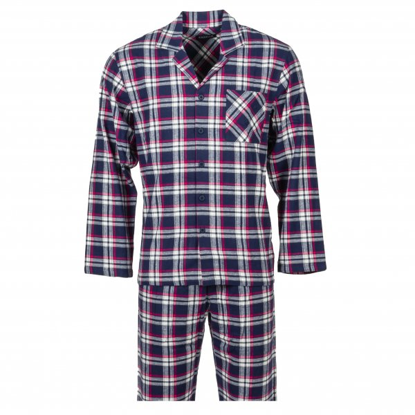 Pyjama long Ringella en coton : chemise col simple bleu à carreaux blancs et pantalon bleu à carreaux blancs
