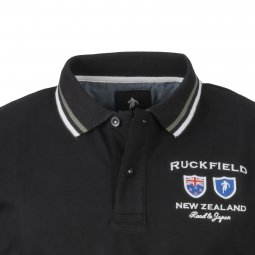 Polo Ruckfield Road to Japan en coton stretch noir New Zealand