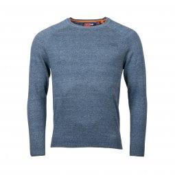 Pull col rond Superdry Orange Label en coton bleu pétrole chiné