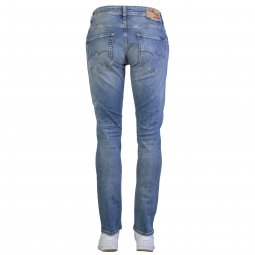 Jean Teddy Smith Regular Worn Comfort en coton stretch bleu indigo à effet usé