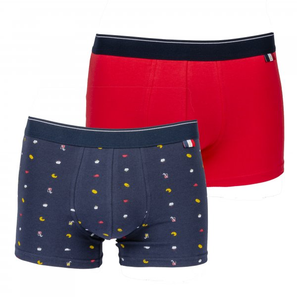 Lot de 2 boxers Eminence Made in France en coton stretch rouge et bleu marine à motifs petit déjeuner