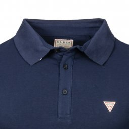 Polo Guess Amias en coton stretch bleu marine à logo