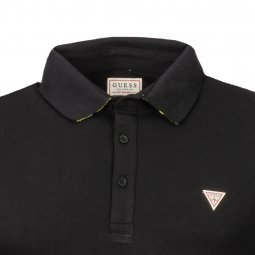 Polo Guess Amias en coton stretch noir à logo