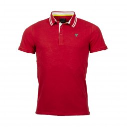 Polo Guess en coton stretch rouge