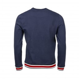 Sweat col rond Guess en coton stretch bleu marine floqué