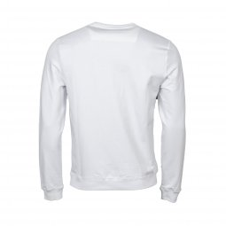 Sweat col rond Guess en coton stretch blanc floqué