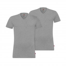 Lot de 2 tee-shirts col V Levi's en coton stretch gris chiné