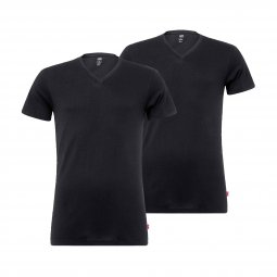 Lot de 2 tee-shirts col V Levi's en coton stretch noir