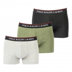 Lot de 3 boxers Polo Ralph Lauren en coton stretch gris clair chiné, kaki et noir