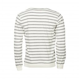 Pull col rond Teddy Smith Nark Stripe en coton beige à rayures bleu marine
