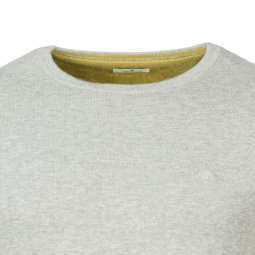 Pull col rond Tom Tailor en coton gris clair chiné
