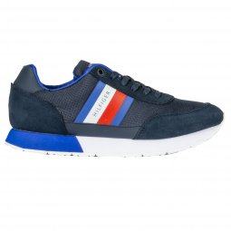 Baskets Tommy Hilfiger Corporate Mix Flag en cuir bleu denim