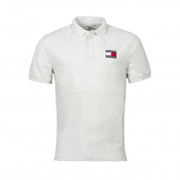 Polo Tommy Jeans Badge en coton piqué gris chiné
