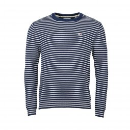 Pull col rond Tommy Jeans en coton bleu marine à rayures blanches