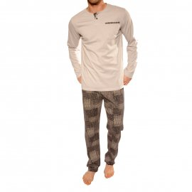 Pyjama long Brooklyn Christian Cane en coton : tee-shirt manches longues col tunisien gris clair et pantalon gris anthracite à motifs